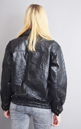 90's retro genuine leather oversized bomber patchwork jacket by Lover