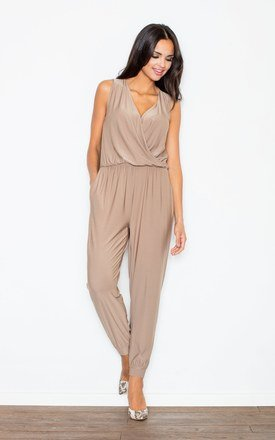 Beige v-neck gathered waist jumpsuit by FIGL Product photo