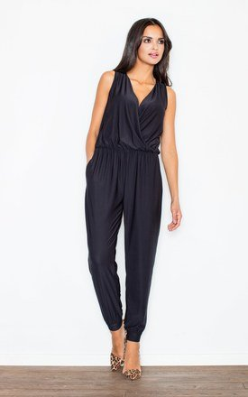 Black v-neck gathered waist jumpsuit by FIGL Product photo