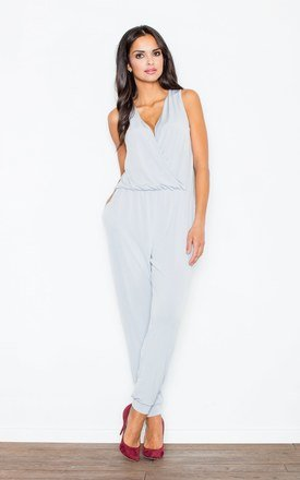 Grey v-neck gathered waist jumpsuit by FIGL Product photo