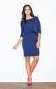 Navy Blue Ingenuous Design 3/ 4 Sleeves Dress by FIGL