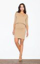 Beige Ingenuous Design 3/ 4 Sleeves Dress by FIGL