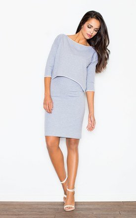 Grey Ingenuous Design 3/ 4 Sleeves Dress by FIGL