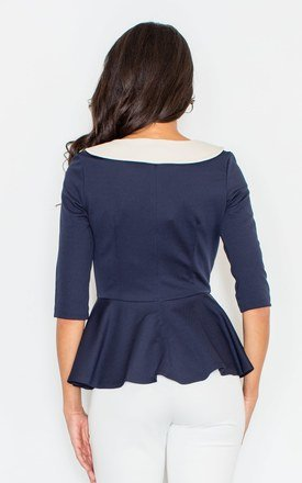 Navy Blue Contrasting Collar Peplum Blouse by FIGL