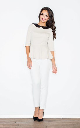 Beige Contrasting Collar Peplum Blouse by FIGL