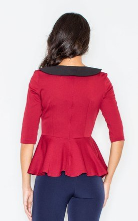 Deep Red Contrasting Collar Peplum Blouse by FIGL