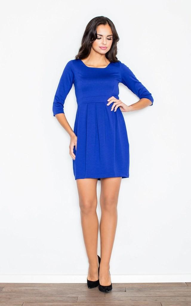 Blue Bubble Dress with Accentuated Waist by FIGL
