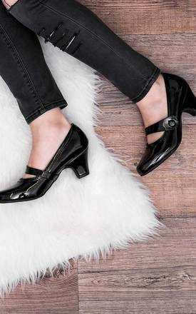 ISADORE Mary Jane Block Heel Court Shoes - Black Patent by SpyLoveBuy