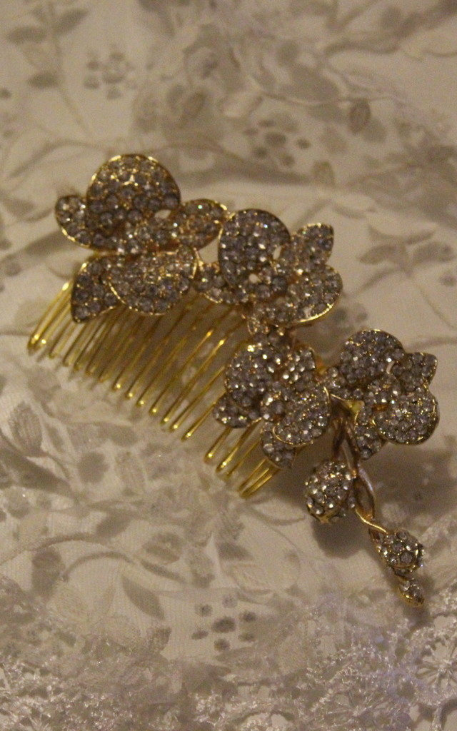 Bridal gold orchid bud flower  crystal headdress hair comb by Kate Coleman