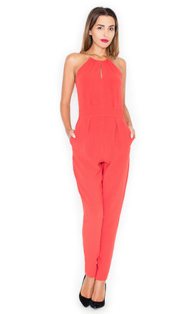 Halter neck jumpsuit in coral by KATRUS Product photo
