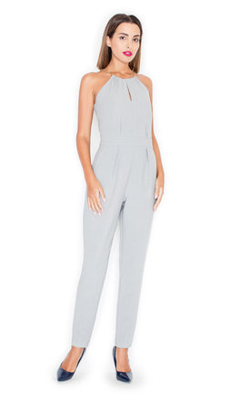 Halter neck jumpsuit in pearl grey by KATRUS Product photo