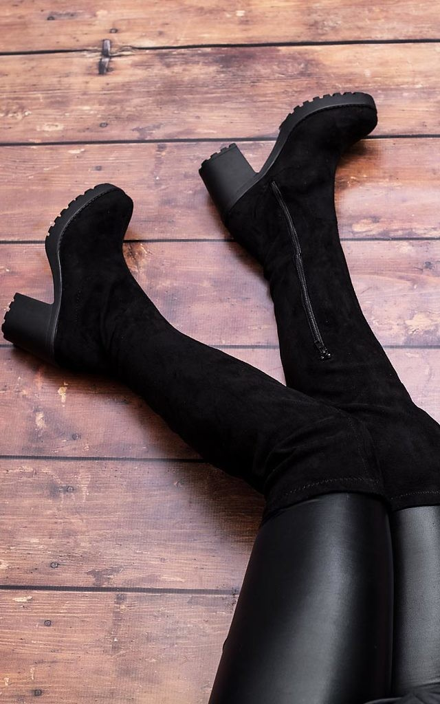 ALLEGA Cleated Sole Stretch Over Knee Boots - Black Suede Style by SpyLoveBuy