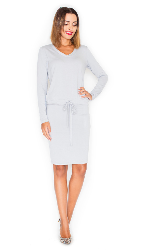 d58a251531a097 Light Grey Long Sleeve Tie Front Shift Dress | KATRUS | SilkFred