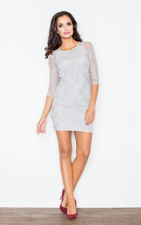 Grey Backless Lace Dress by FIGL