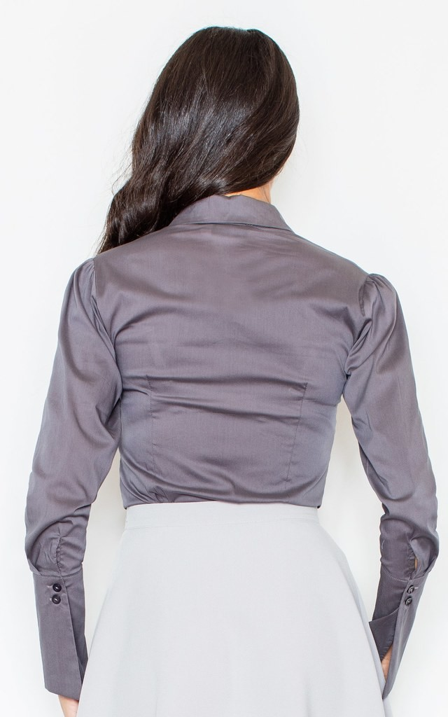Grey Long Sleeve Shirt with Ruffle by FIGL