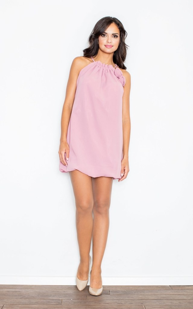 Pink Sleeveless Mini Dress with Roses by FIGL
