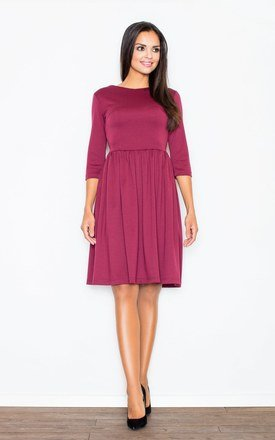 Claret Flared Knee Length Dress by FIGL