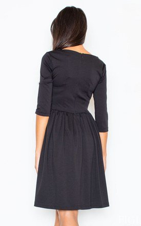 Black Flared Knee Length Dress by FIGL