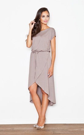 Brown Loose Fitting Long Back Midi Dress by FIGL