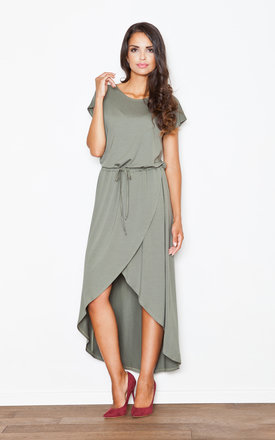 Khaki loose fitting long back midi dress by FIGL Product photo