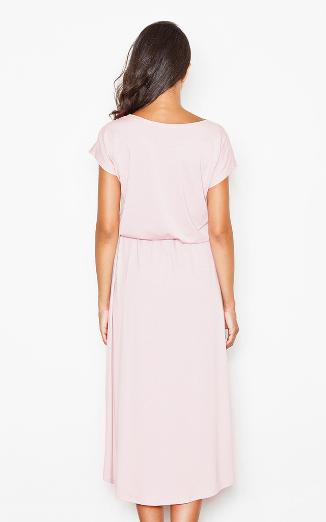 Pink Loose Fitting Long Back Midi Dress by FIGL