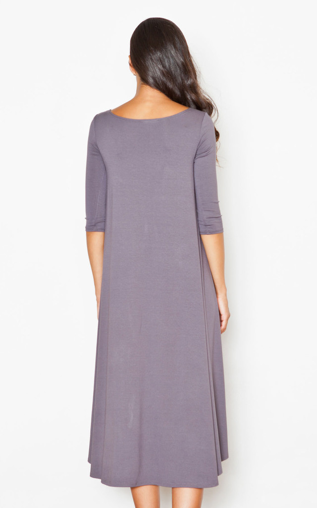 Grey Loose Fitting Long Back Midi Dress by FIGL