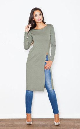 Olive green long side split tunic by FIGL Product photo