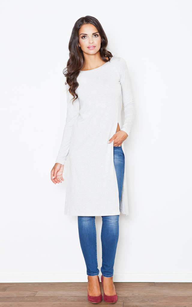 Light Grey Long Side Split Tunic by FIGL