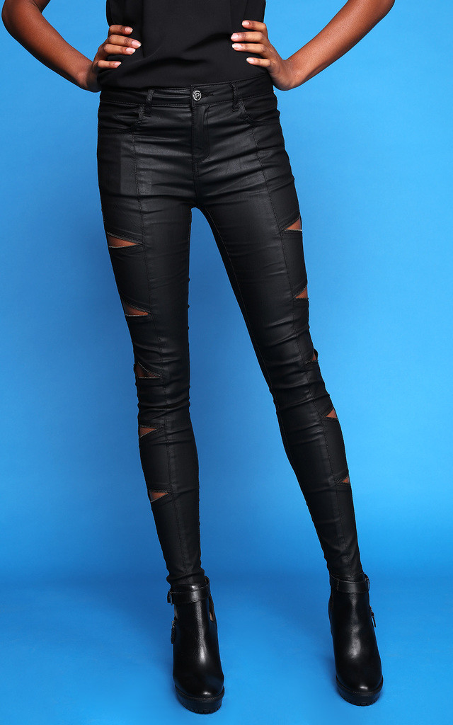 COATED TRIANGLE ZIP CUT OUT BIKER JEANS by Jezzelle
