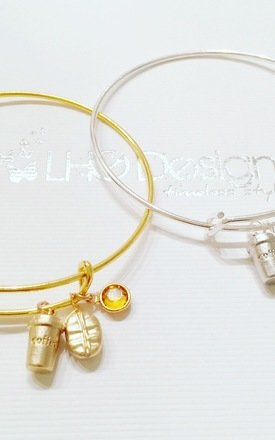 Coffee Bean Charm GOLD Bracelet by LHG Designs
