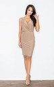 Beige Sleeveless Pencil Dress by FIGL