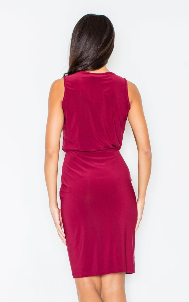 Claret Sleeveless Pencil Dress by FIGL