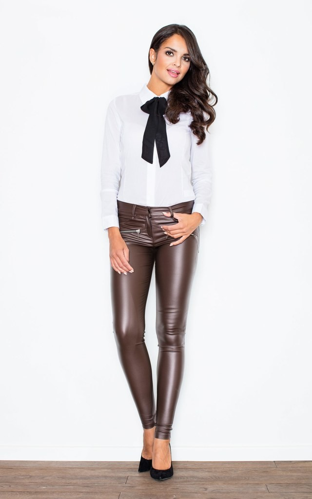 Contrast Pussy Black Bow Seam White Blouse With Cuffed Lo Figl