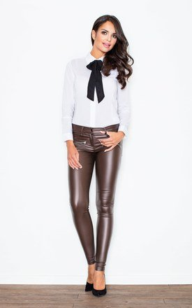 Contrast pussy black bow seam white blouse with cuffed long sleeves by FIGL Product photo