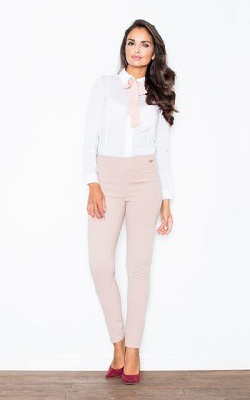 Pink contrast pussy bow seam blouse with cuffed long sleeves by FIGL Product photo