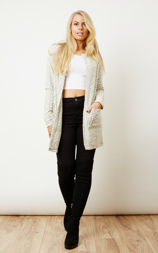 White Long Sleeve Knitted Cardigan by VM