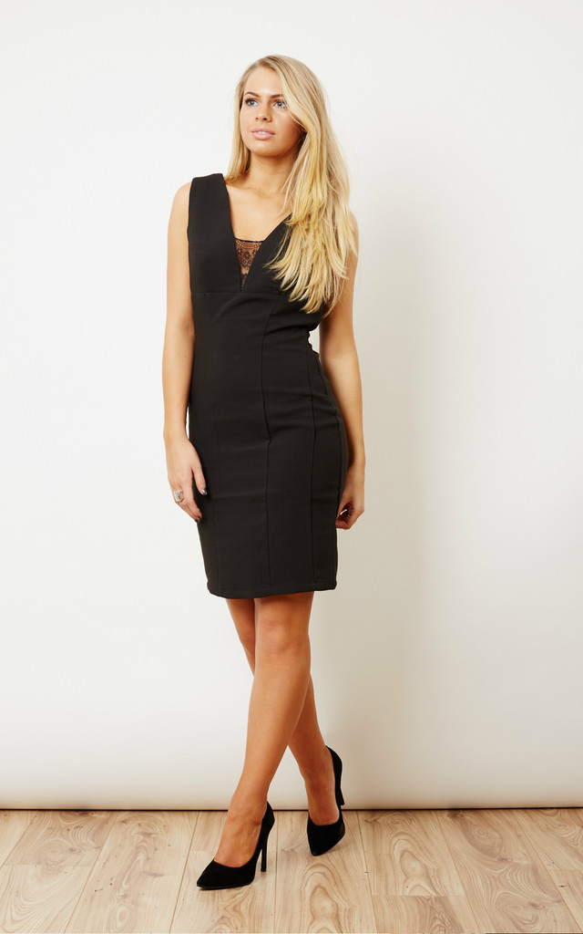 Black Dress with Lace Insert by VILA