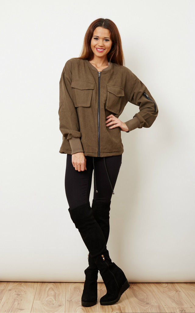 Khaki Bomber Jacket With Front Pockets - SilkFred