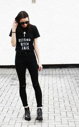 Resting Bitch Face T shirt Black by Rock On Ruby