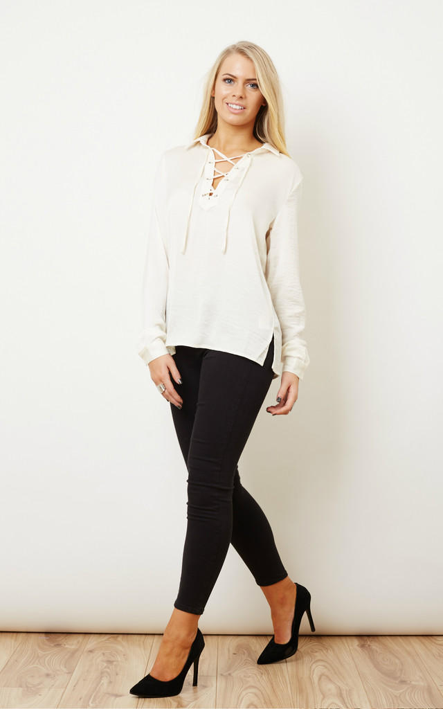Silky Lace Front Shirt in Cream by VILA