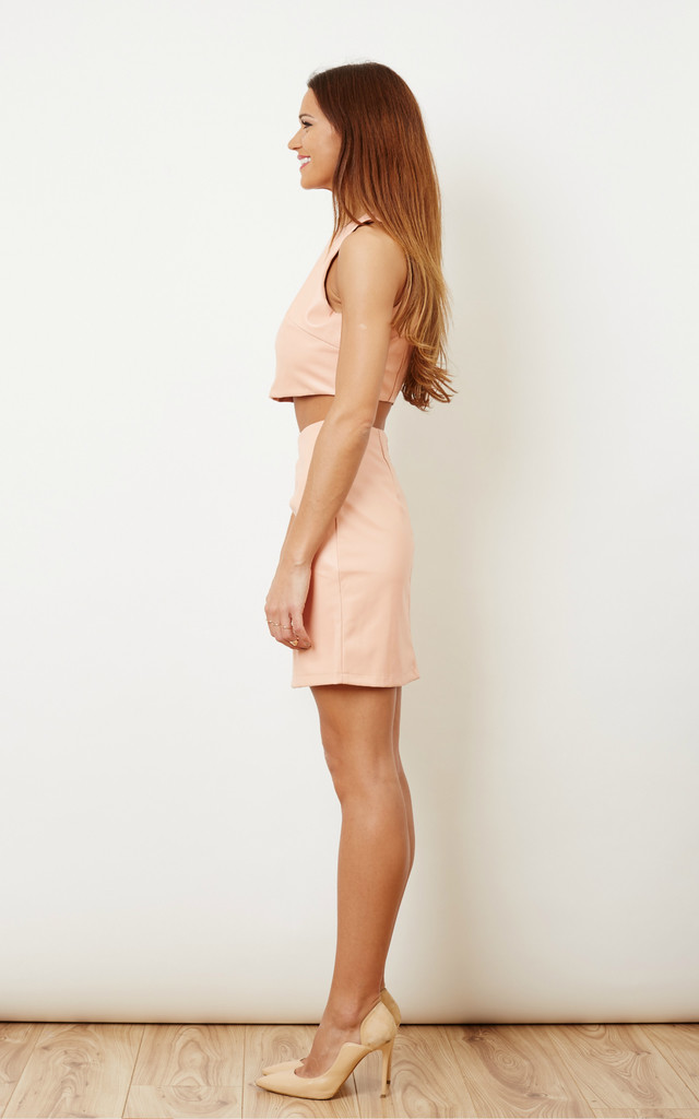 Powder Pink Pu Leather Co-ord Set by StyleGrab