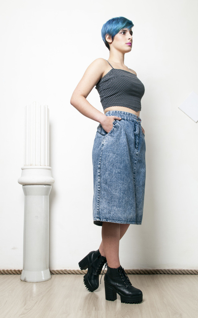 80s vintage high waisted midi denim stonewashed pencil skirt by Pop Sick Vintage