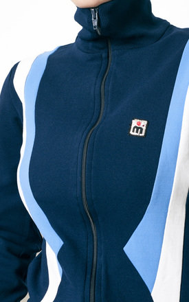 80s vintage colourblock blue sport neoprene sweatshirt by Pop Sick Vintage
