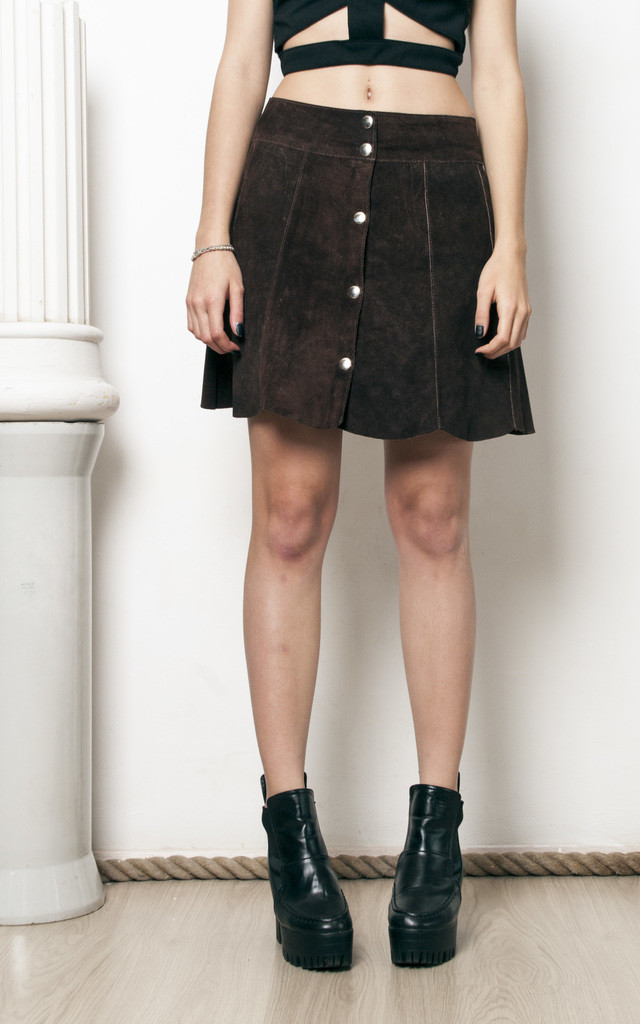 70s vintage suede real leather bell skirt by Pop Sick Vintage