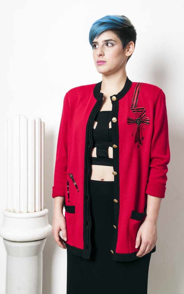 80s vintage glam red knit cardigan by Pop Sick Vintage