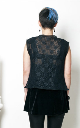 70s vintage black lace sheer crop top by Pop Sick Vintage