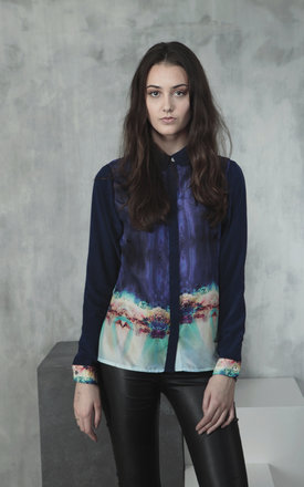 Kaleidoscope ocean ladies silk shirt by Lulu Hayes Product photo