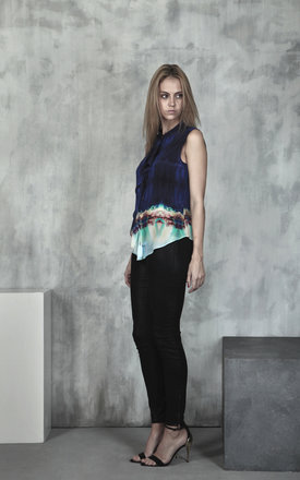 Kaleidoscope ocean silk waterfall blouse by Lulu Hayes Product photo