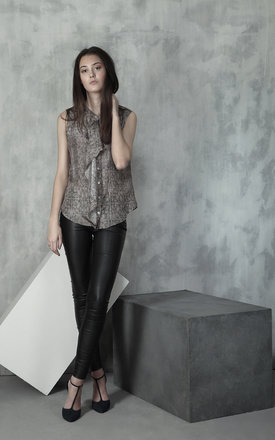 Reptile mix silk waterfall blouse by Lulu Hayes Product photo