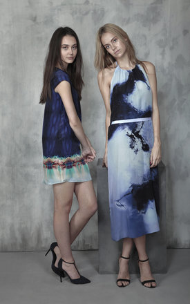 Kaleidoscope ocean silk shift dress by Lulu Hayes Product photo